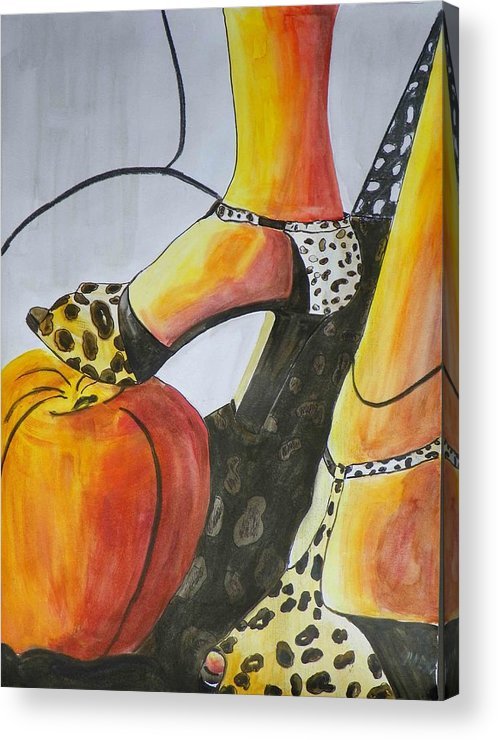 Apple Acrylic Print featuring the painting Apple Fashion by Evguenia Men