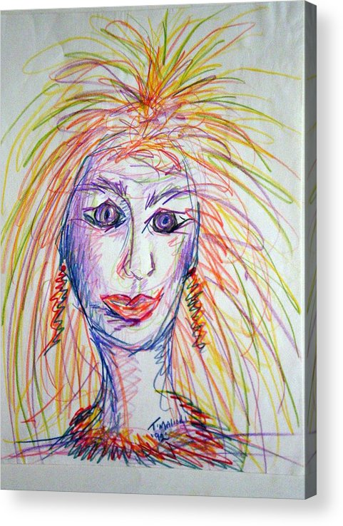 Self Portrait Acrylic Print featuring the drawing At Wits End by Tammera Malicki-Wong