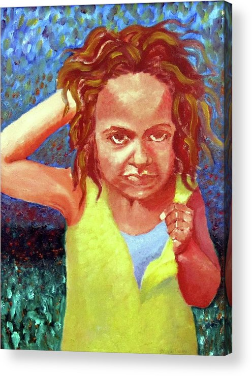 Portrait Acrylic Print featuring the painting Attitudinal by Alima Newton