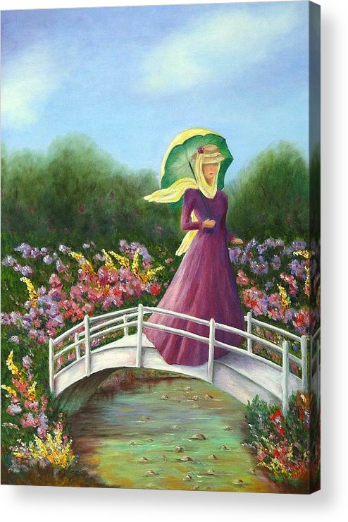 Lady With Flowers Acrylic Print featuring the painting Beauty Wherever She Goes by Merle Blair