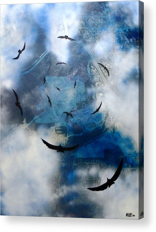 Landscape Birds Apocalypse Ominous Surreal Acrylic Print featuring the painting birds of apocalypse VI by Poul Costinsky
