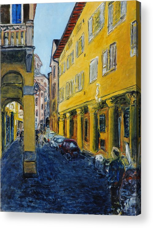 Cityscape Italy Bologna Cars Yellow Houses Man Columns Acrylic Print featuring the painting Bologna Galeria by Joan De Bot