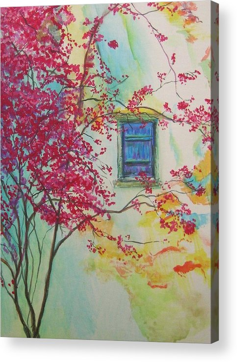 Bouganvilla Acrylic Print featuring the painting Bouganvilla And Blue Shutter by Lizzy Forrester