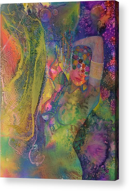 Nude Acrylic Print featuring the painting Bubbles Bangles Beads by Valerie Aune