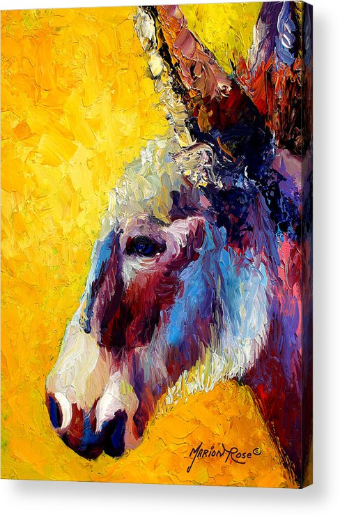 Western Acrylic Print featuring the painting Burro Study II by Marion Rose