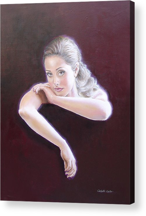 Portrait Acrylic Print featuring the painting Carlee by JoAnne Castelli-Castor