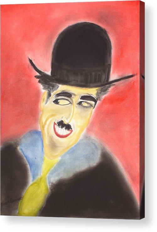 Cinema Film Acrylic Print featuring the painting Chaplin by Roger Cummiskey