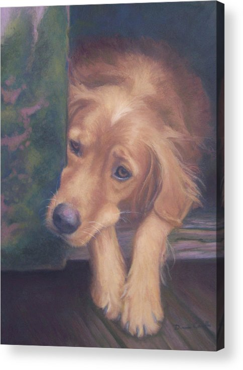 Charlie Acrylic Print featuring the painting Charlie's In The Doghouse by Diane Caudle