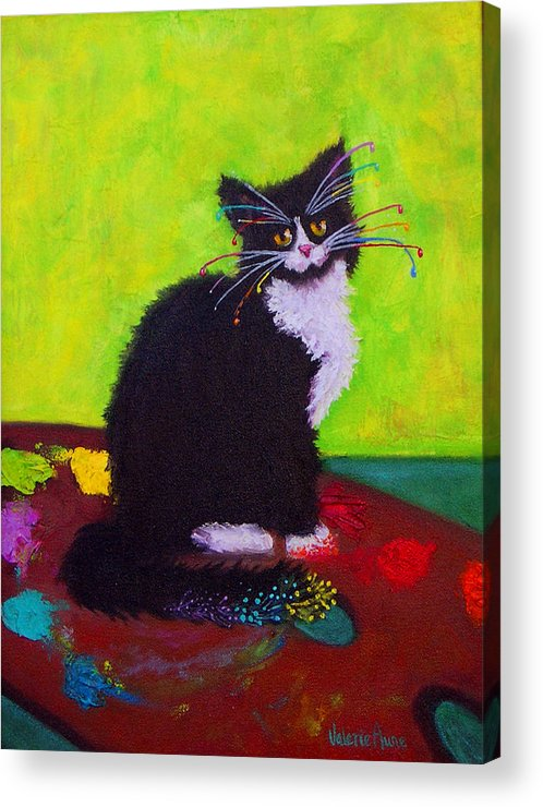 Cat Acrylic Print featuring the painting CHING - The Studio Cat by Valerie Aune
