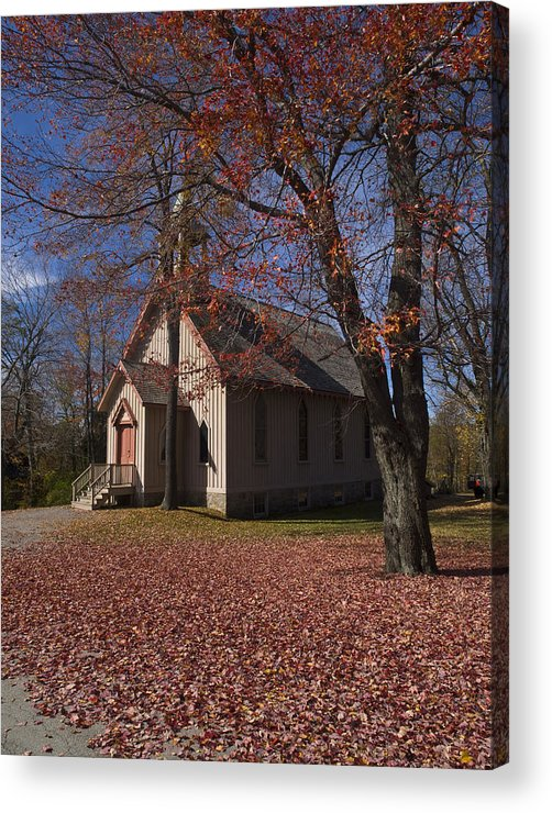 Nature; United States; Fall Foliage; Luzerne County; Historic Structure; Eckley Village; Church Acrylic Print featuring the photograph Church and Fall Foliage in Eckley Village by Bob Hahn