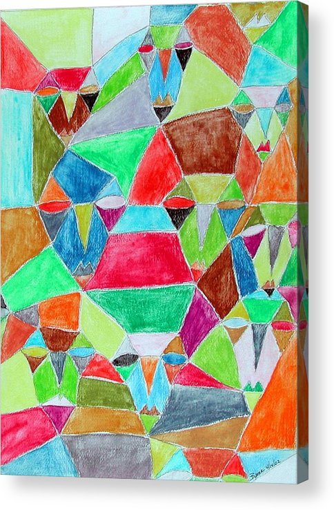 Abstract Acrylic Print featuring the painting Circle of friends by Margie Byrne