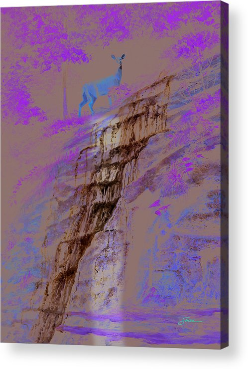 Landscape Acrylic Print featuring the painting Cool Cascade by Harold Shull