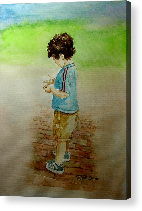 Children Acrylic Print featuring the painting Counting by JoAnne Castelli-Castor
