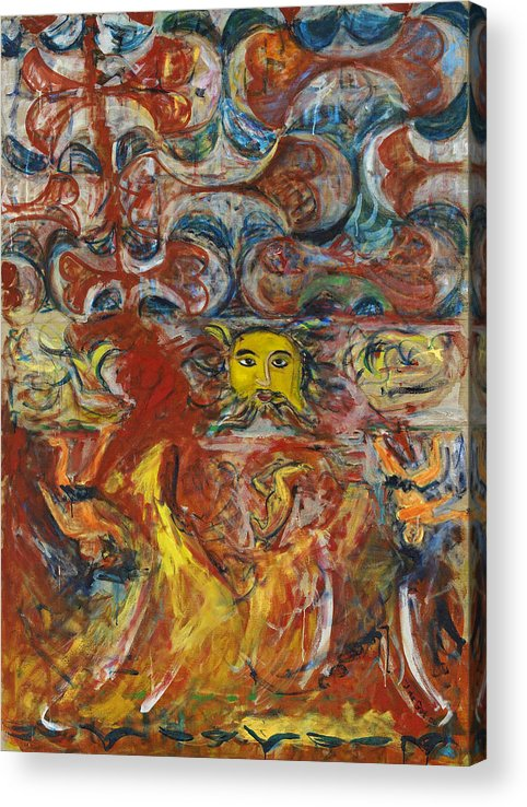Red Yellow Blue Greek God Zeus Music Mythology Acrylic Print featuring the painting Cyprus Mosaic by Joan De Bot