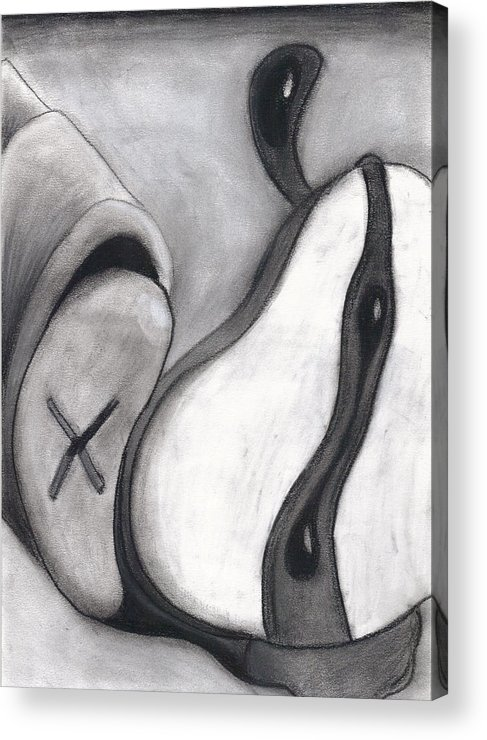 Charcoal Acrylic Print featuring the drawing Distorted Series 4 by Dan Fluet