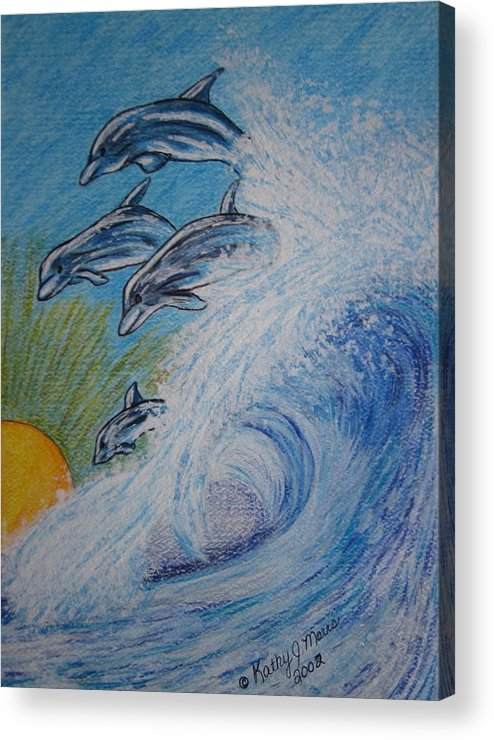 Dolphins Acrylic Print featuring the painting Dolphins Jumping in the Waves by Kathy Marrs Chandler