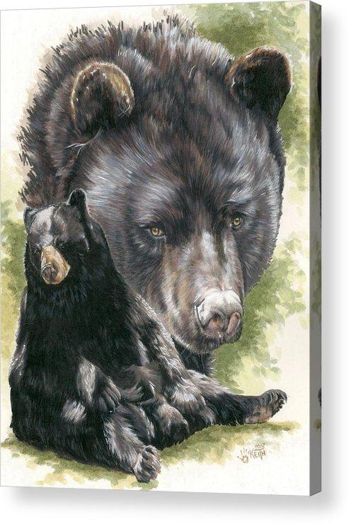 Black Bear Acrylic Print featuring the mixed media Ebony by Barbara Keith