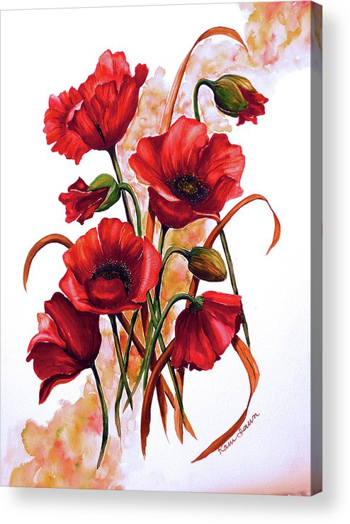 Red Poppies Paintings Floral Paintings Botanical Paintings Flower Paintings Poppy Paintings Field Poppy Painting Greeting Card Paintings Poster Print Painting Canvas Print Painting  Acrylic Print featuring the painting English Poppies 2 by Karin Dawn Kelshall- Best