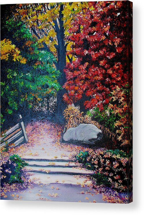 A N Original Painting Of An Autumn Scene In The Gateneau In Quebec Acrylic Print featuring the painting Fall In Quebec Canada by Karin Dawn Kelshall- Best