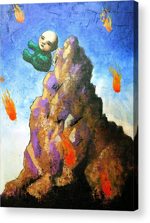 Figure Acrylic Print featuring the painting Falling Off the Mountain by Pauline Lim