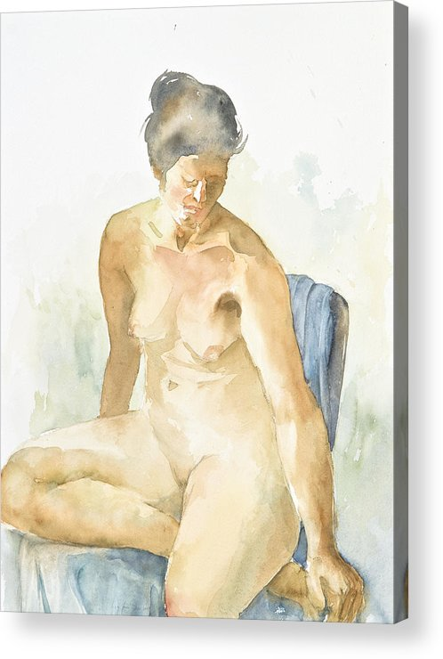Nude Woman Acrylic Print featuring the painting Figure Sitting by Eugenia Picado