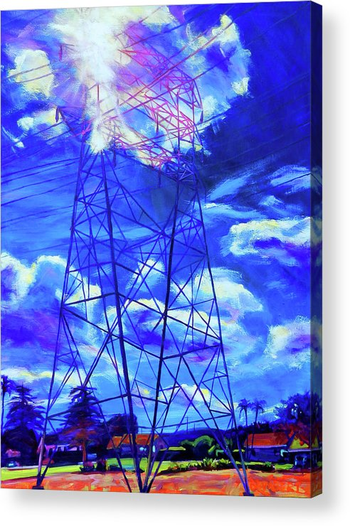 Power Tower Acrylic Print featuring the painting Flash by Bonnie Lambert