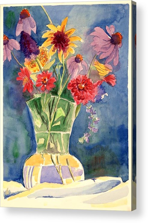 Flowers In Glass Vase Acrylic Print featuring the painting Flowers in Glass Vase by Judy Swerlick