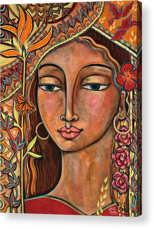 Bird Acrylic Print featuring the painting Focusing On Beauty by Shiloh Sophia McCloud
