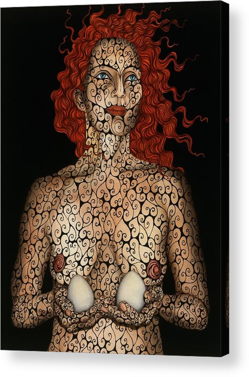 Figurative Acrylic Print featuring the painting Frau mit Eiern by Tina Blondell