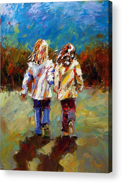 Girls Acrylic Print featuring the painting Friends Forever by Debra Hurd