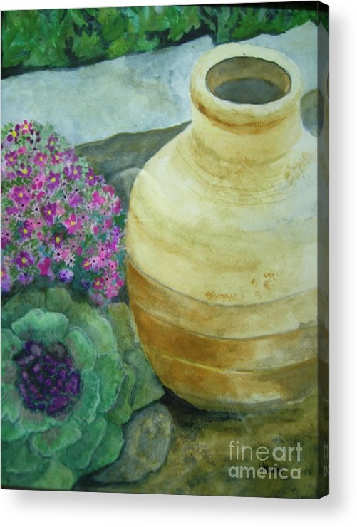 Landscape Acrylic Print featuring the painting Garden Path by Vi Mosley