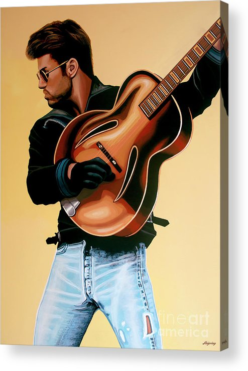 George Michael Acrylic Print featuring the painting George Michael Painting by Paul Meijering