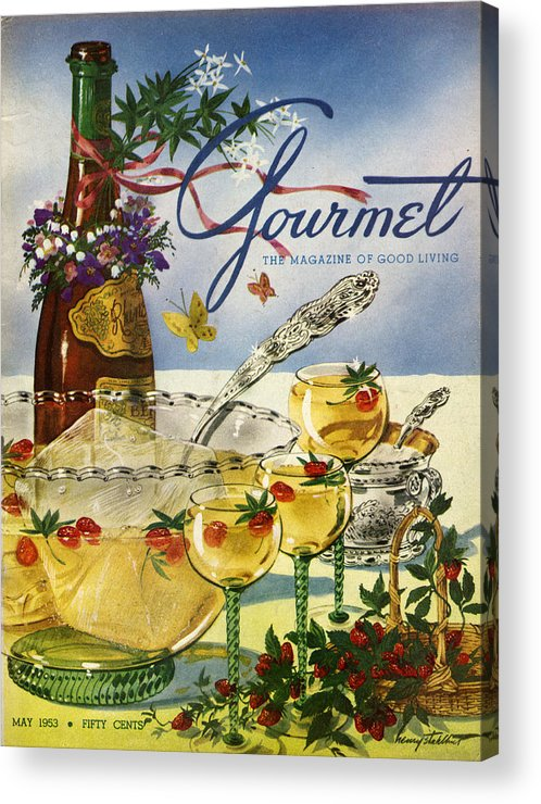 Illustration Acrylic Print featuring the photograph Gourmet Cover Featuring A Bowl And Glasses by Henry Stahlhut