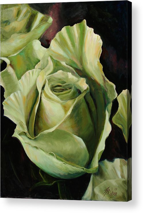 Roses Acrylic Print featuring the painting Grand -Opening by Billie Colson