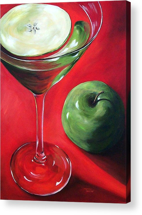 Martini Acrylic Print featuring the painting Green Apple Martini by Torrie Smiley
