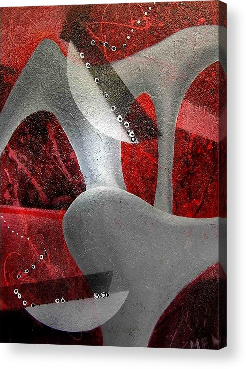 Abstract Acrylic Print featuring the painting Grey Object by Evguenia Men