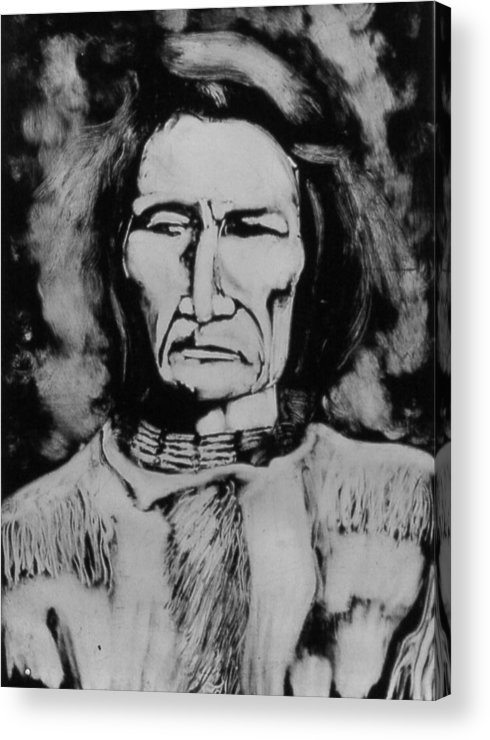 Western Art Acrylic Print featuring the drawing He Has Seen Many Changes by Dan RiiS Grife