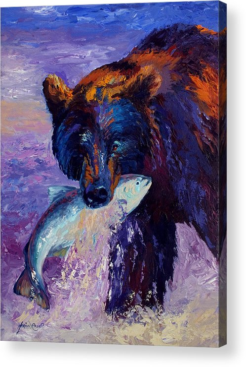 Bear Acrylic Print featuring the painting Heartbeats Of The Wild by Marion Rose