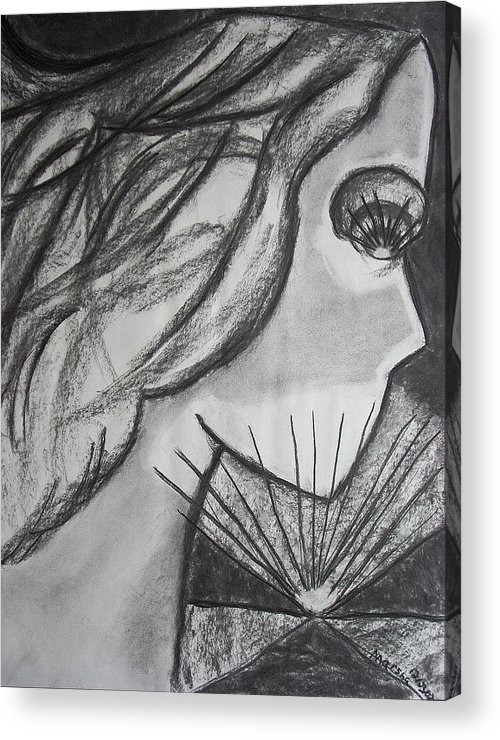 Face Acrylic Print featuring the drawing Horizon by Marsha Ferguson