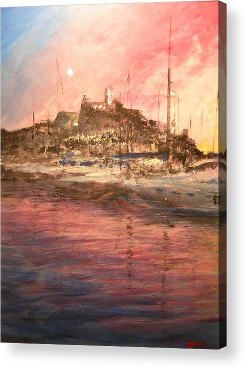 Yachts Acrylic Print featuring the painting Ibiza Old Town At Sunset by Lizzy Forrester