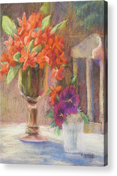 Still Life Acrylic Print featuring the painting Indian Hawthorn with Pansys by Jimmie Trotter