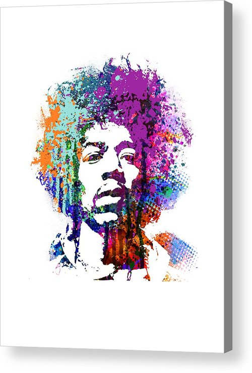 Jimi Acrylic Print featuring the mixed media Jimi Hendrix by Art Popop