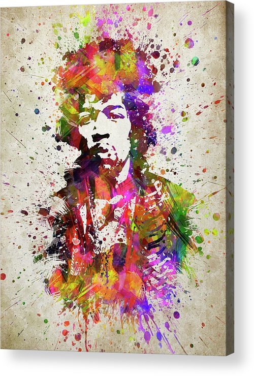 Jimi Hendrix Acrylic Print featuring the digital art Jimi Hendrix In Color by Aged Pixel