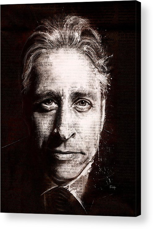 Comedy Acrylic Print featuring the painting Jon Stewart by Fay Helfer