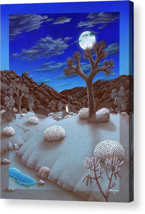 Landscape Acrylic Print featuring the painting Joshua Tree at night by Snake Jagger