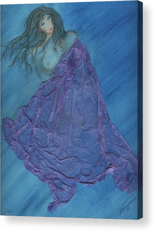 Mixed Media Acrylic Print featuring the painting Lavender Passion by Cathy Minerva