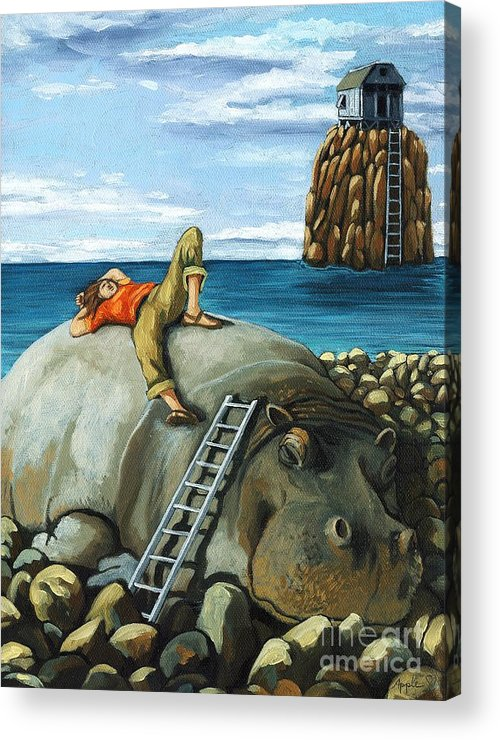 Surreal Acrylic Print featuring the painting Lazy Days - surreal fantasy by Linda Apple