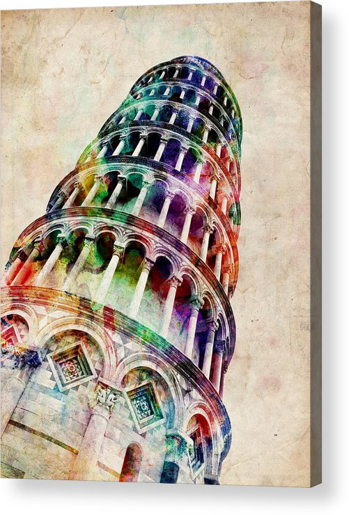 Leaning Tower Of Pisa Acrylic Print featuring the digital art Leaning Tower of Pisa by Michael Tompsett