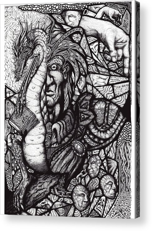 Pen And Ink Acrylic Print featuring the drawing Legend by Tobey Anderson