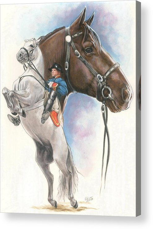Spanish Riding School Acrylic Print featuring the mixed media Lippizaner by Barbara Keith